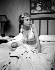 20th-century-man: Janet Leigh in a production still from Alfred Hitchcock's Psycho (1960)