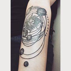 Sistema Solar Tatuagem; Solar Sistem Tattoo; Ideia; Designer