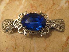 SAPPHIRE blue Rhinestone silver ox filigree hair by ArlenesRubies, $36.00