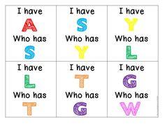 ABC I Have.Who Has for alphabet recognition Kindergarten Reading Activities, Preschool Games, Alphabet Activities, Preschool Worksheets, Preschool Ideas, Teaching Ideas, Letter Recognition Kindergarten, Letter Identification Activities, School Fun
