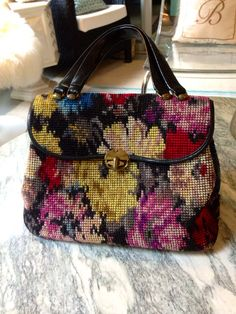 Vintage Wool Tapestry Needlepoint Purse with Black Strap and Gold Clasp on Etsy, $85.00