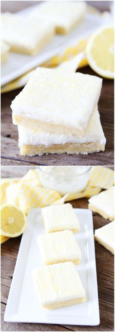 Lemon Sugar Cookie Bars with Lemon Cream Cheese Frosting Recipe on twopeasandtheirpod.com These easy sugar cookie bars are the BEST and perfect for the holiday season!