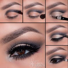 "MotivesCosmetics - Cut crease by @elymarino!1.Apply""Onyx"" slightly above the crease, keeping to your own natural eye shape 2.Blending out ""Cappuccino"" any harsh edges until you have a smooth transition between both colors 3.Taking ""Bling"" shadow pat over the entire lid keeping underneath the crease 4.Using ""Little Black Dress"" gel liner line the eyes as desired 5.Taking ""LBD"" line the water line and smudge with ""Onyx"" To brighten take ""Platinum"" and apply it to the inner corner of the eyes"