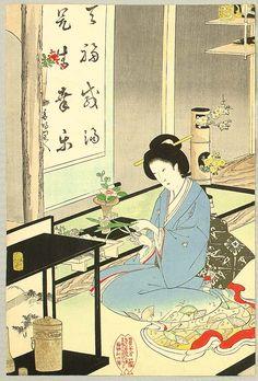 Toyohara Chikanobu (Japanese: 1838-1912) - Flower Arranging and Tea Ceremony (1895)