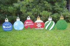 "Christmas Yard Ornaments made for client by ART DE YARD.  Ornaments are approx. 14"" in diameter not including top hanger.  They are approx. 18-1/2"" tall from top of hanger to bottom"