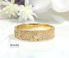 adc1bc89300 Rustic textured 14k gold wedding ring