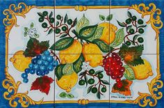 This is a hand painted panel of tiles 60x40 cm, approx. 23.6x15.7 inches.  The collage consists of 6 tiles each at 20x20 cm, 8x8 inches.  The beauty of the popular Italian fruit such as the Sorrento lemons, olive oil and wine grapes have been hand painted into one collage on ceramic tiles that will make your home more unique. Our Ceramic Glazed Tiles are traditionally used to cover walls where they are used in finishing kitchens, bathrooms, benches, decorative panels, floor applications…
