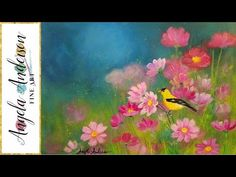Simple Step by Step Landscape Acrylic Painting FIELD of FLOWERS with Bir...