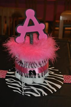 Pink and zebra baby shower center pieces