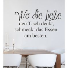 Kitchen design made easy! Wall decals can be . Wandtattoos lassen sich schnell und einfach an… Kitchen design made easy! Wall decals can be attached quickly and easily and give the room a great decoration! German Quotes, Kitchen Wall Stickers, Wall Tattoo, Food Quotes, Text Quotes, Kitchen Trends, Lettering, Fashion Room, Art Of Living