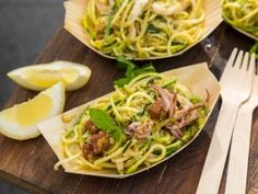 Linguine with Cilantro Pesto and Chile Calamari : Recipes : Cooking Channel Savoury Dishes, Food Dishes, Main Dishes, Calamari Recipes, Cilantro Pesto, Italian Recipes, Italian Foods, Linguine, Mascarpone