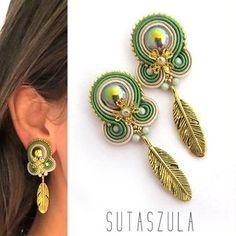 Soutache jewelry: earrings, necklaces and bracelets par sutaszula Denim Earrings, Green Earrings, Feather Earrings, Unique Earrings, Beaded Earrings, Small Earrings, Tassel Jewelry, Beaded Jewelry, Bohemian Jewelry
