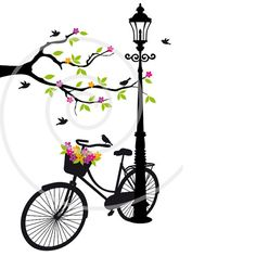 Old bicycle with flowers tree and birds clipart clip by Illustree