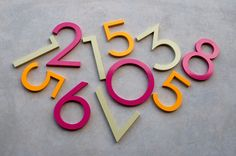 Or maybe I want pink ones. Coloured house numbers made from recycled architectural grade aluminium by Great River Company.