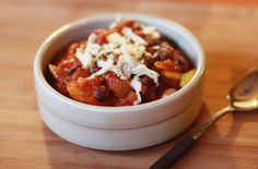 Yummy Vegetarian Chili recipe from Emma on her blog Food Coma, I love that she adds cinnamon and cumin