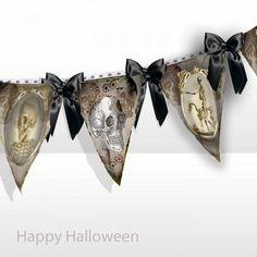 Printable Halloween party  banner Steampunk skulls instant download