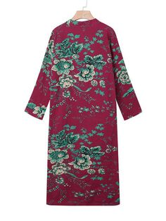 Plus Size Vintage Floral Print Frog Button Long Trench Coats For Women - Banggood Mobile African Fashion Designers, African Men Fashion, Africa Fashion, Vintage Flower Prints, Vintage Flowers, Floral Prints, Vintage Floral, Plus Size Outerwear, Long Trench Coat