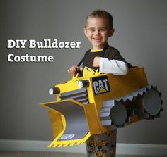 DIY Bulldozer Costume - step by step instructions - so easy and cute!