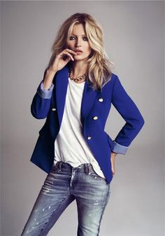 distressed denim | white tee | cobalt blazer