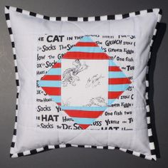 Quilted Pillow Cover using Dr. Seuss Fabric So fun in a reading corner of a classroom! Dr Seuss Fabric, One Fish, Quilted Pillow, Classroom Decor, Baby Quilts, Boy Or Girl, Whimsical, Sewing Projects, Pillow Covers