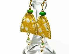 boho textile pearl earrings upcycled silk by ChrisHearnDesigns