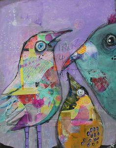 "11x14 Mixed Media Collage Acrylic Painting Bird Family ""Listen Up Peeps"" on wood by Jodi Ohl"