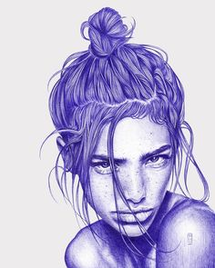 Messy hair don't care - find her and other artprints at society6/theanordal ➡️ link in bio #artprint #society6 #illustration #hair #messybun #blue #ballpointpen #bicart #artwork #biro #pendrawing #bytheanordal