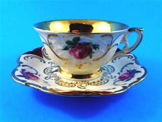 Gold Center with Roses Winterling Bavaria Germany Demitasse Tea Cup and Saucer S
