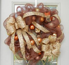 Beautiful Animal Print, woodland animal Owl & Fox Fall through Christmas Wreath XL  Custom Made in USA