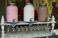 Milk and cookie bar! Super cute idea for a kids bday party or a baby shower!