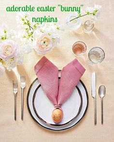 A handful of materials that you already have at home are all you need to pull together this adorable Easter bunny place setting.