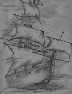 Pirate Ship Sketch by Vickie Roche Tattoo concept- mermaid bust Pirate Ship Drawing, Boat Drawing, Girl Drawing Sketches, Art Drawings Sketches Simple, Pencil Art Drawings, Cool Drawings, Painting & Drawing, Tattoo Sketches, Amazing Drawings