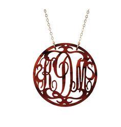 script monogram tortoise acrylic necklace for spring