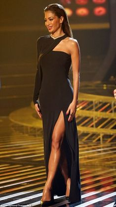 Nicole scherzinger sexy back black strappy dress