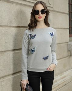 Check the details and price of this Gray Butterfly Embroidered Long Sleeve Crew Neck Sweatshirt (Gray, Irina Miro) and buy it online. VIPme.com offers high-quality Tops at affordable price.