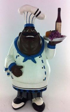 Fat Chef Kitchen Statue African American Holding Fruit Plate Table Top Art Figur