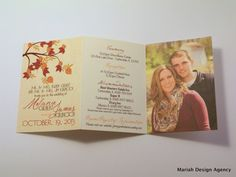 As an alternative to the invitations with lots of slips of paper, I like the all-in-one look of this invitation (without the cringey pic of the couple - don't want any pics of us on the invitation lol!)