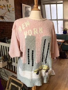 1980s Adolfo sweater with World Trade Center