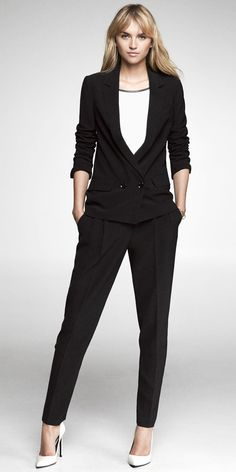 5c195b461cf Soft jacket with a deep v and skinny ankle pant. So cute! Express Soft  Jacket   Pleated Ankle Pant