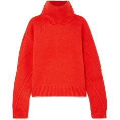 Tory Burch Eva convertible oversized wool-blend turtleneck sweater found on Polyvore featuring tops, sweaters, ribbed turtleneck, ribbed turtleneck sweaters, red sweater, loose turtleneck sweater and ribbed sweater