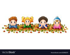 Kids playing with autumn leaves vector image on VectorStock Kindergarten Classroom Decor, School Frame, First Fathers Day Gifts, Leaves Vector, Child Day, Autumn Activities, Cute Little Girls, Autumn Leaves, Kids Playing