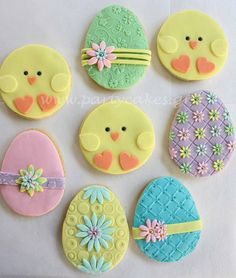Easter eggs & chick cookies by Party Cakes By Samantha, via Flickr