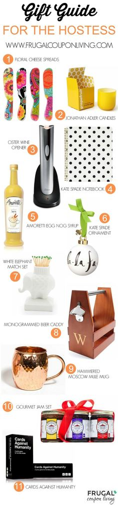 Looking for a perfect gift? Check out this Gift Guide for the Hostess includes mugs, cheese spreads, candles, games, jams and more. Holiday Gift Ideas, Christmas Present Ideas.