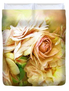 Miracle Of A Rose - Yellow decorator Duvet Cover featuring the art of Carol Cavalaris. Design also available on matching pillow as well as fine art print.