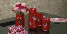 So easy spray paint a jar and a stencil