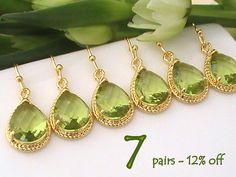 Set of 7 10% Off Peridot Earrings, Bridesmaid Gift, Gold Green Earrings, Bridesmaid Earrings, Bridal Earrings, Wedding Jewelry, Dangle Drop