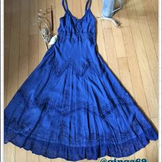 Advance Apparels dress☀️ Advance Apparels royal blue sundress with very beautiful detailing in silver, the bottom is t lace , new with tags beautiful☀️ Advance Apparels Dresses Maxi