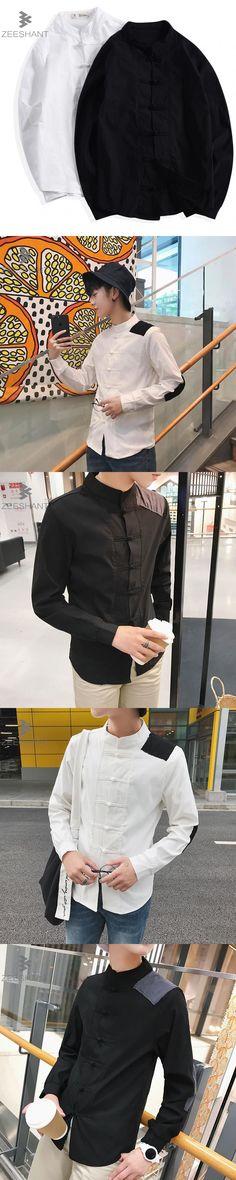 ZEESHANT 2017 New Autumn China Style Men Shirt Cotton Linen Kungfu Casual Shirts Male Long Sleeve Shirt Large Size M-4XL Chemise