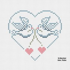 Doves in Heart Free Cross Stitch Pattern Chart Cross Stitch Heart, Cross Stitch Cards, Cross Stitch Samplers, Cross Stitch Animals, Cross Stitching, Cross Stitch Embroidery, Embroidery Patterns, Knitting Charts, Cross Stitch Designs