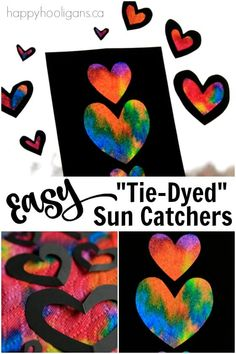"""Make vibrant """"tie-dyed"""" heart sun catchers to brighten up a window with this easy art process! Kids of all ages will love this simple but stunning project! art for kids Easy Tie-Dyed Heart Sun Catchers for Kids to Make Preschool Art Projects, Toddler Art Projects, Valentine's Day Crafts For Kids, Easy Arts And Crafts, Easy Art Projects, Preschool Crafts, Easy Art For Kids, Summer Art Projects, Heart Projects"""